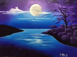 acrylic moon over lake acrylic painting pinterest acrylics