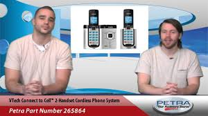 vtech connect to cell 2 handset cordless phone system youtube