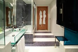 stylish vast bathroom design with shower room and glass bath sink
