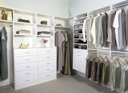 bedroom walk in closet ideas with white storage and open rack for