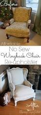 Diy Dining Room Chair Covers by Super Affordable Diy No Sew Wingback Chair Re Upholster What A