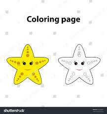 starfish painting page game children worksheet stock vector
