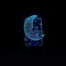 babygo 3d night light moon with bear led illusion lamp art