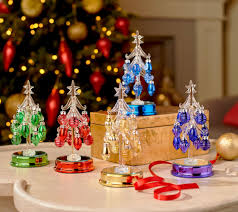 kringle express set of 5 lit glass trees w ornaments u0026 gift boxes