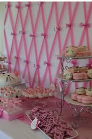 backdrop for baby shower table close up on pink tulle backdrop for hello kitty baby shower dessert