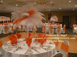 Ostrich Feathers For Centerpieces by Orange And White Ostrich Feather Centerpieces Feathers By