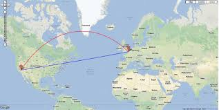 Google Map Route by Interactive Google Maps Based Great Circle Route Mapper Shows