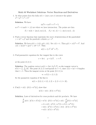 math 53 worksheet solutions vector functions and