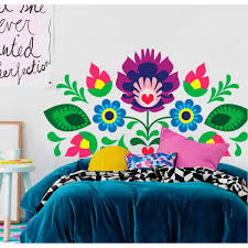 wall decals thewonderwalls headboard with mexican flowers wall decals mexican headboard flowers