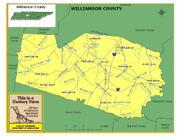 Map Tennessee Williamson County Tennessee Century Farms