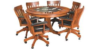 Poker Table Chairs Amish Woodworking Handcrafted Furniture Made In The Usa