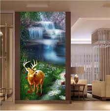 compare prices on fall wallpaper online shopping buy low price custom 3d photo wallpaper room mural falls deer flowers grass painting photo livingroom tv background non