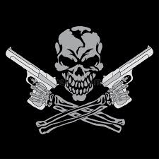 smiling skull with guns stock illustration illustration of graphic