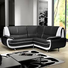 canapé d angle noir simili cuir amanda canapé d angle similicuir noir blanc 2a2 degriffmeubles