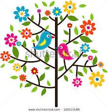 decorative floral tree bird vector illustration stock vector