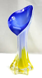 Vintage Yellow Glass Vase Vintage Murano Calla Lily Cased Art Glass Vase Blue Lavender
