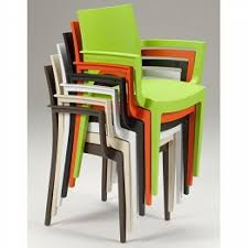 Stackable Plastic Patio Chairs Moon Outdoor Cafe Bistro Arm Chairs Colourful Polyproplene