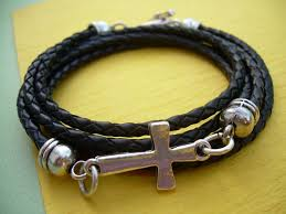 cross bracelet mens images Black braided leather bracelet cross bracelet toggle closure jpg
