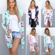 flower floral cardigan print sweater coats outwear loose jacket