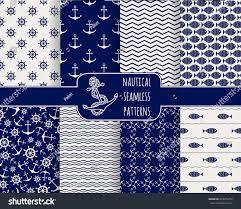 seamless nautical patterns set design elements stock vector