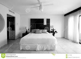 Black And White Bed Hotel Resort Bedroom Suite In Black And White Royalty Free Stock