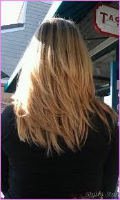 front and back views of medium length hair medium length haircuts with layers back view stylesstar com