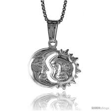 sterling silver small sun and moon pendant made in italy 1 2 in