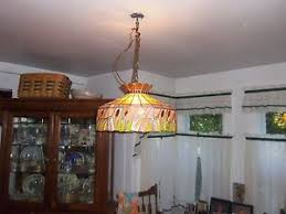 Stained Glass Light Fixtures Dining Room Vintage Large Stained Glass Hanging Light Chandelier Kitchen Or