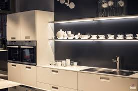 kitchen style floating shelves with led strip lighting and gray
