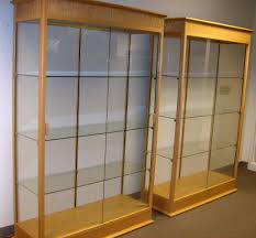 3 Door Display Cabinet Clear Glass Display Cabinet Come With Maple Wooden
