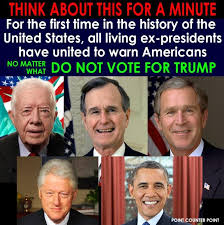 first five presidents all living ex presidents warn against donald trump