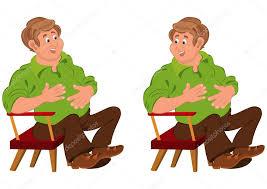 Cartoon Armchair Happy Cartoon Man Sitting In Armchair With Hands On Stomach