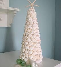seashell tree made of white shells by beachgrasscottage