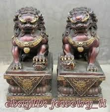 foo lion statue antique copper guardian lion foo fu dog door guard statue