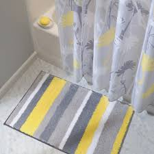 Grey And Yellow Bathroom by Amazon Com Interdesign Microfiber Stripz Bathroom Shower Accent
