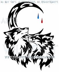 wolf and fox tear drop moon tribal design by wildspiritwolf on