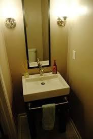 Half Bathroom Remodel by Half Bath Pedestal Sink Big Mirror Triple Sconce Not These