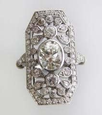 fine platinum art deco plaque ring antique engagement rings