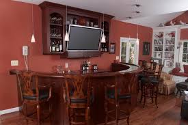 funiture wooden home bar cabinet designs with hanging bottles