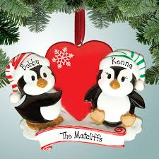 family ornaments penguin holding personalized free