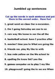 english teaching worksheets jumbled sentences