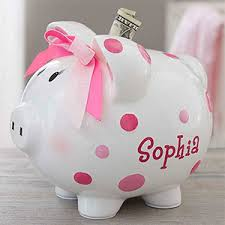 personalized baby piggy banks personalized piggy bank for girl pink polka dot