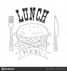 cafe lunch menu promo sign in sketch style with burger fork and