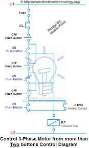 control 3 phase motor from more than two buttons control diagram