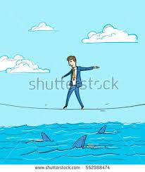 Challenge Water On Challenge Conceptual Vector Illustration Businessman Balancing