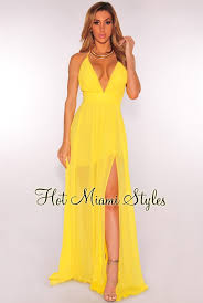 yellow dress crisscross back high front slit maxi dress