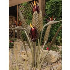 tiki home decor desert steel birds of paradise tiki torch 450 020hd the home depot