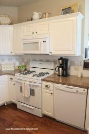 Antiqued White Kitchen Cabinets by Antique White Kitchen Cabinets With White Appliances Inspirations