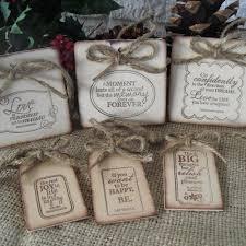 set of 6 inspirational rustic wood ornaments item 1292