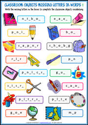 classroom objects esl printable worksheets and exercises